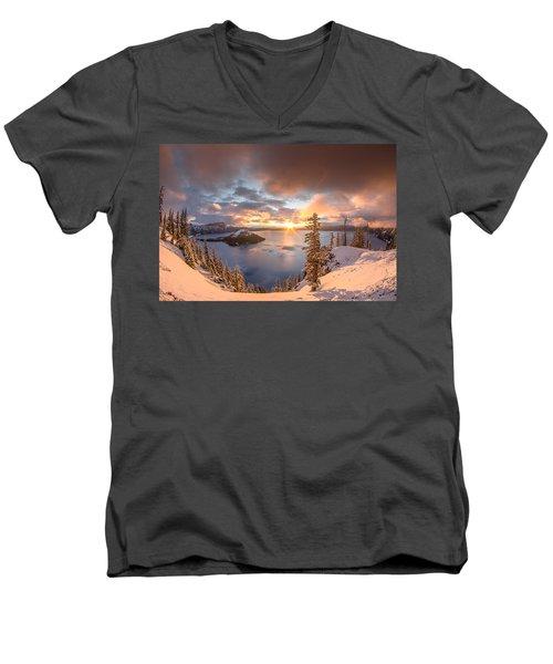 Sunrise After Summer Snowfall Men's V-Neck T-Shirt