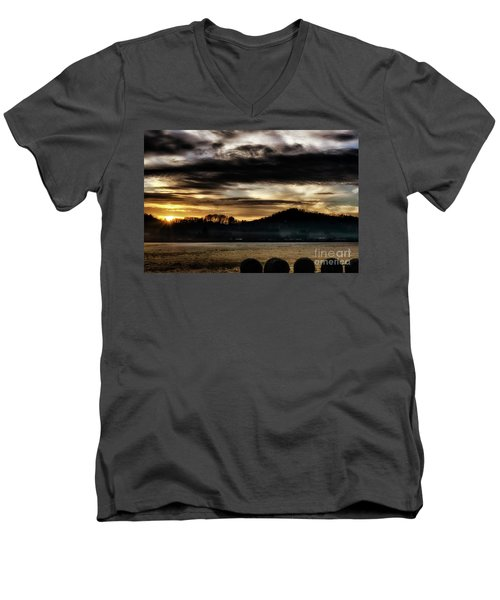 Men's V-Neck T-Shirt featuring the photograph Sunrise And Hay Bales by Thomas R Fletcher