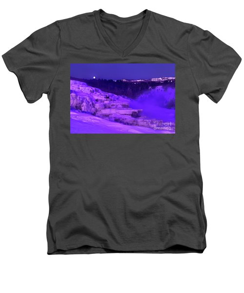 Men's V-Neck T-Shirt featuring the photograph Sunrise And Moonset Over Minerva Springs Yellowstone National Park by Dave Welling