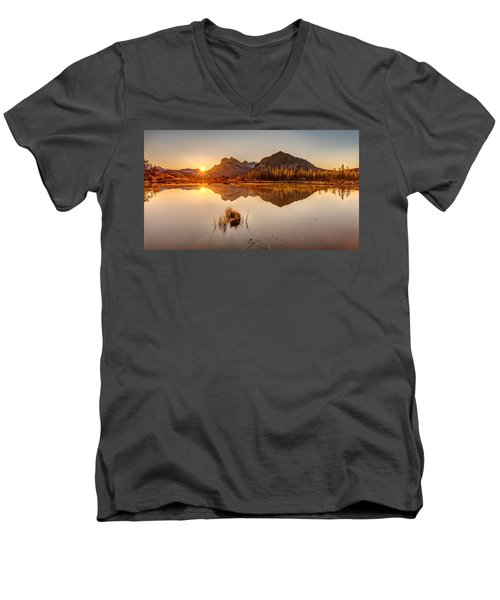 Sunrise At Banff's Vermilion Lakes  Men's V-Neck T-Shirt by Pierre Leclerc Photography
