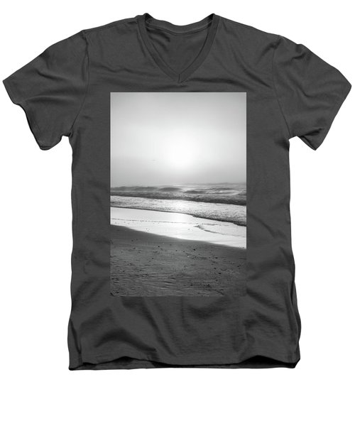 Men's V-Neck T-Shirt featuring the photograph Sunrise At Beach Black And White  by John McGraw