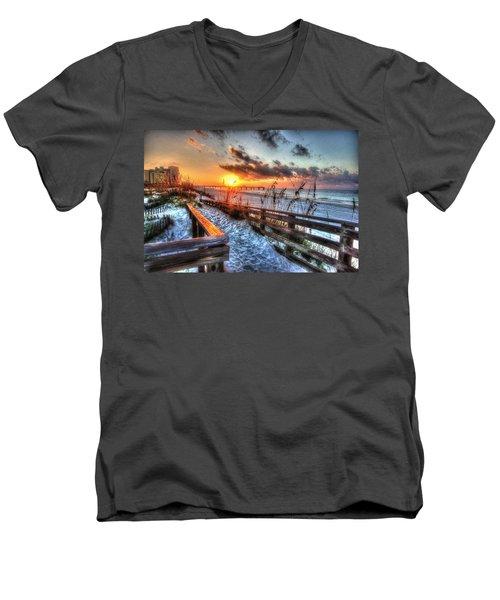 Sunrise At Cotton Bayou  Men's V-Neck T-Shirt