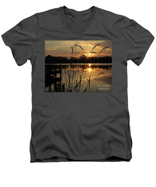 Sunrise At Grayton Beach Men's V-Neck T-Shirt by Robert Meanor
