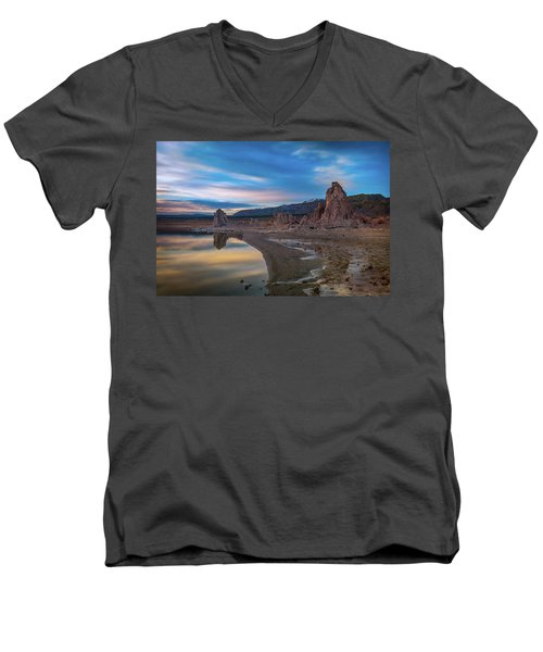 Sunrise At Mono Lake Men's V-Neck T-Shirt by Ralph Vazquez