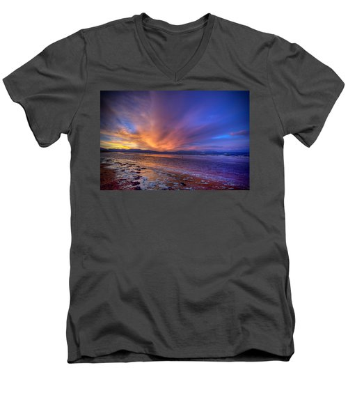 Sunrise At Newborough Men's V-Neck T-Shirt