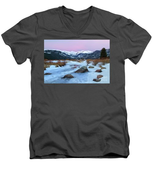 Sunrise At Rocky Mountain National Park Men's V-Neck T-Shirt by Ronda Kimbrow