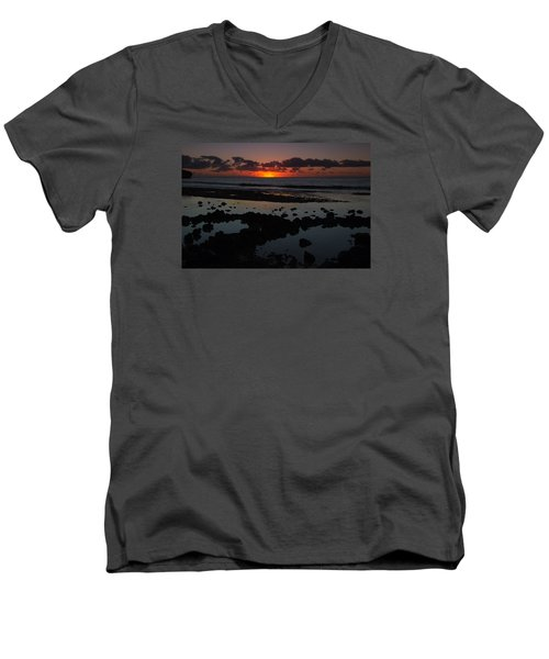 Sunrise At Shipwreck Beach Men's V-Neck T-Shirt by Roger Mullenhour