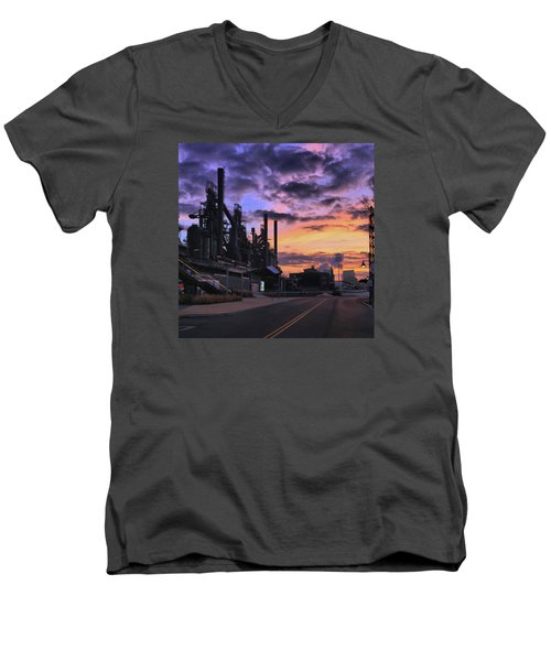 Men's V-Neck T-Shirt featuring the photograph Sunrise At Steelstacks by DJ Florek