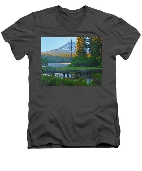 Sunrise At Takhlakh Lake Under Mt Adams Men's V-Neck T-Shirt