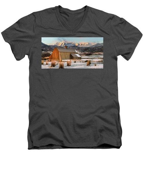 Sunrise At Tate Barn Men's V-Neck T-Shirt