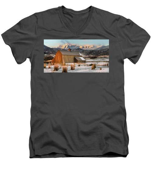 Sunrise At Tate Barn Men's V-Neck T-Shirt