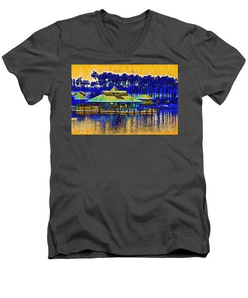 Sunrise At The Boat Dock Men's V-Neck T-Shirt by Kirt Tisdale