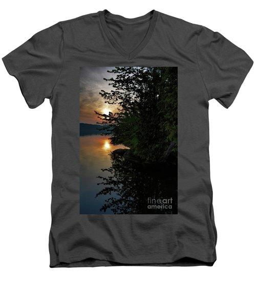 Sunrise At The Lake Men's V-Neck T-Shirt by Henry Kowalski
