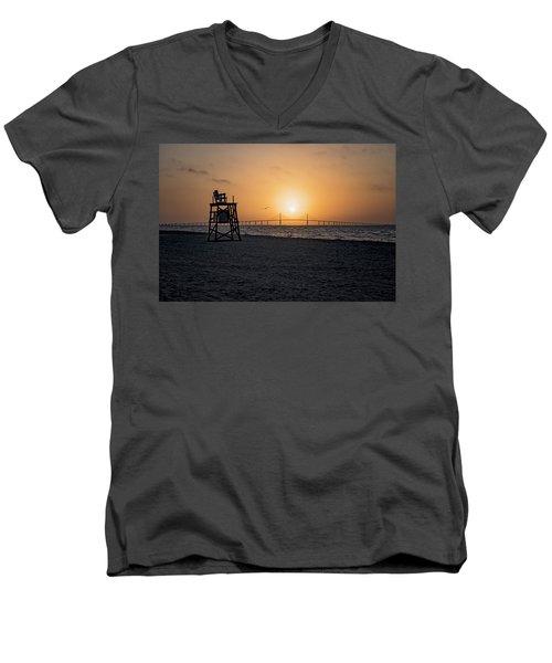 Sunrise At The Skyway Bridge Men's V-Neck T-Shirt by Michael White