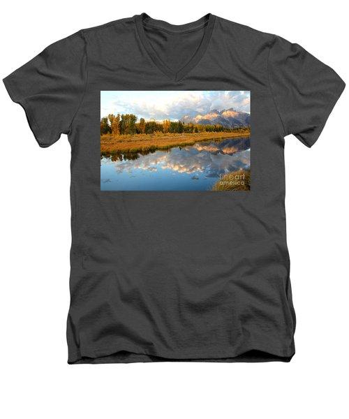 Sunrise At The Tetons Men's V-Neck T-Shirt