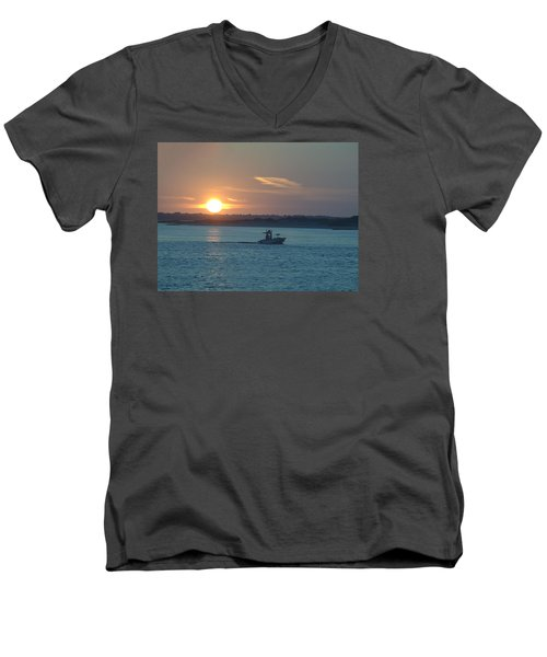 Men's V-Neck T-Shirt featuring the photograph Sunrise Bassing by  Newwwman