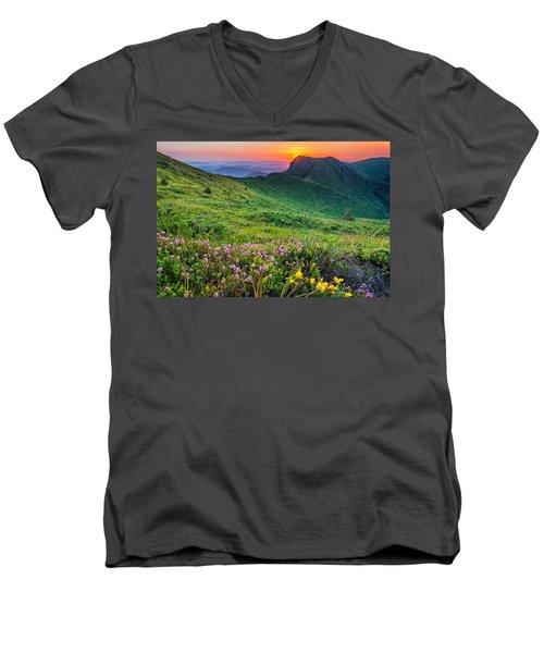 Sunrise Behind Goat Wall Men's V-Neck T-Shirt