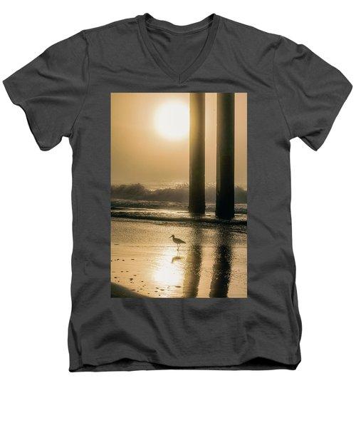 Men's V-Neck T-Shirt featuring the photograph Sunrise Bird At Beach  by John McGraw
