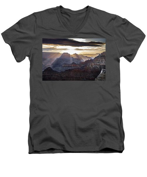 Men's V-Neck T-Shirt featuring the photograph Sunrise Grand Canyon by Phil Abrams