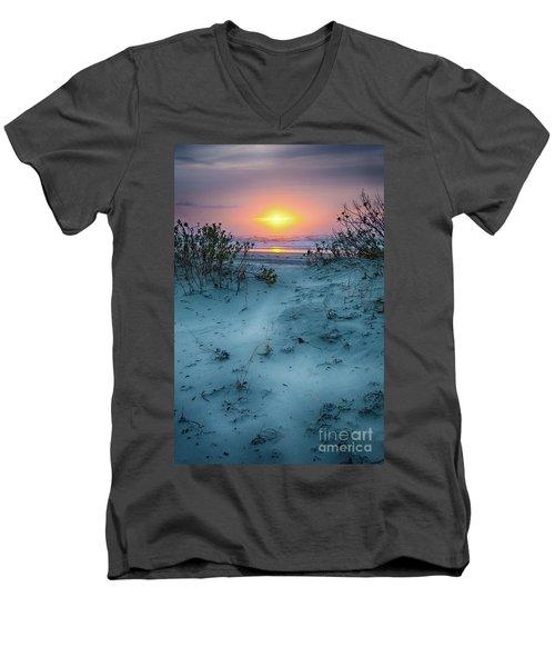 Sunrise Hike On The Outer Banks Men's V-Neck T-Shirt by Dan Carmichael