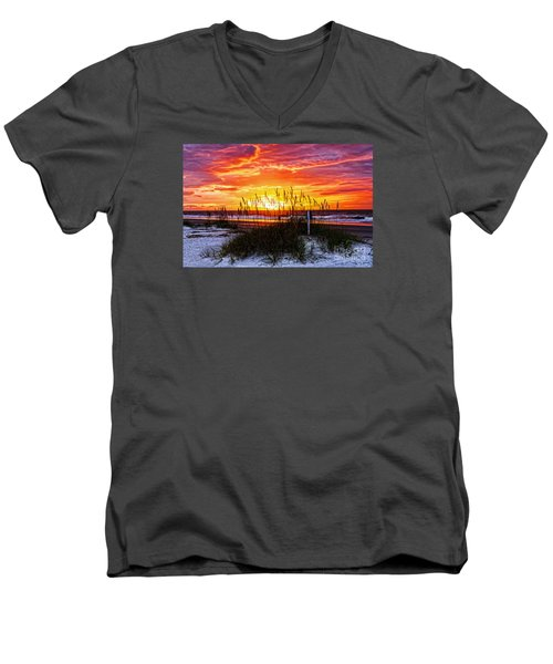 Sunrise Hilton Head Beach Men's V-Neck T-Shirt by Paul Mashburn