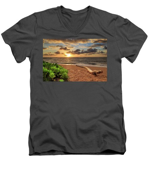 Men's V-Neck T-Shirt featuring the photograph Sunrise In Kapaa by James Eddy