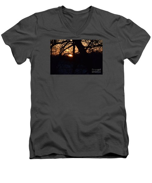 Men's V-Neck T-Shirt featuring the photograph Sunrise In The Woods by Mark McReynolds