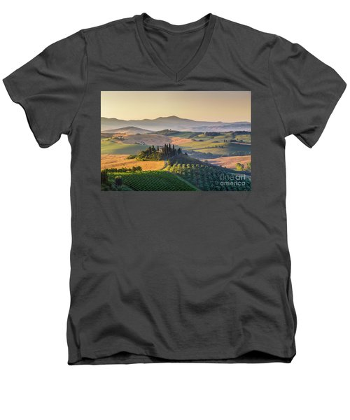 Sunrise In Tuscany Men's V-Neck T-Shirt by JR Photography