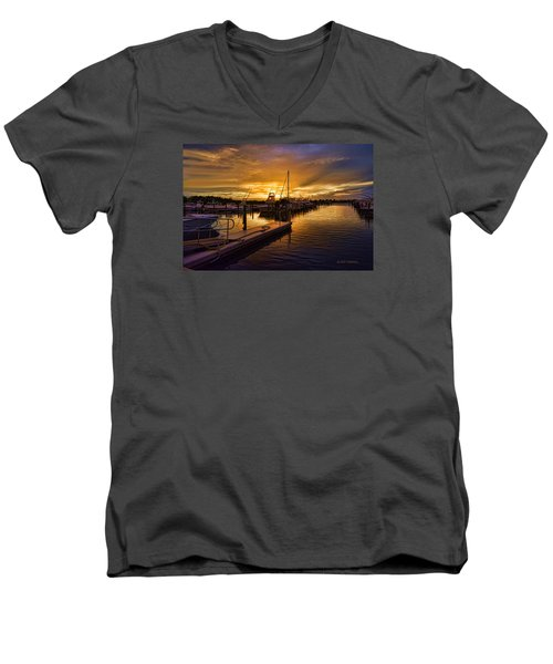 Men's V-Neck T-Shirt featuring the photograph Sunrise Marina by Don Durfee