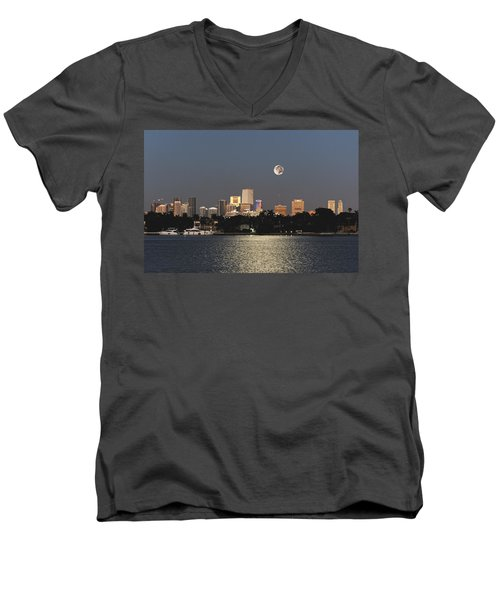 Men's V-Neck T-Shirt featuring the photograph Sunrise Moon Over Miami by Gary Dean Mercer Clark