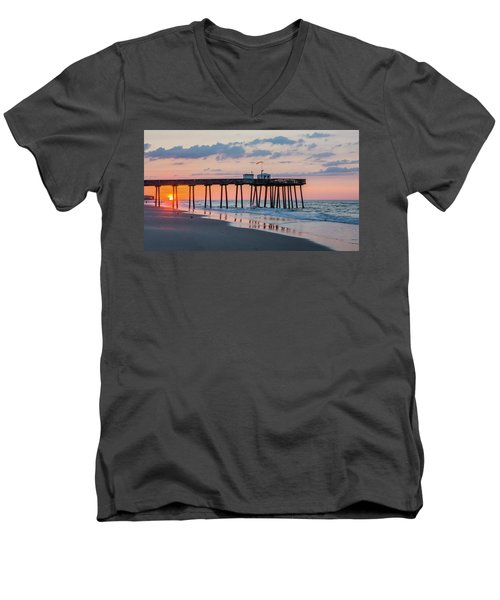 Sunrise Ocean City Fishing Pier Men's V-Neck T-Shirt