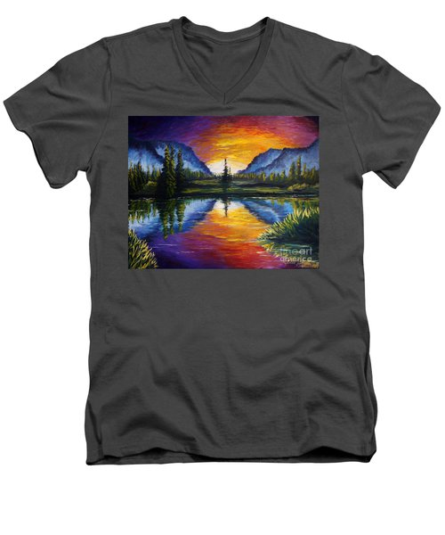 Sunrise Of Nord Men's V-Neck T-Shirt by Ruanna Sion Shadd a'Dann'l Yoder