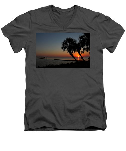 Men's V-Neck T-Shirt featuring the photograph Sunrise On Pleasure Island by Judy Vincent