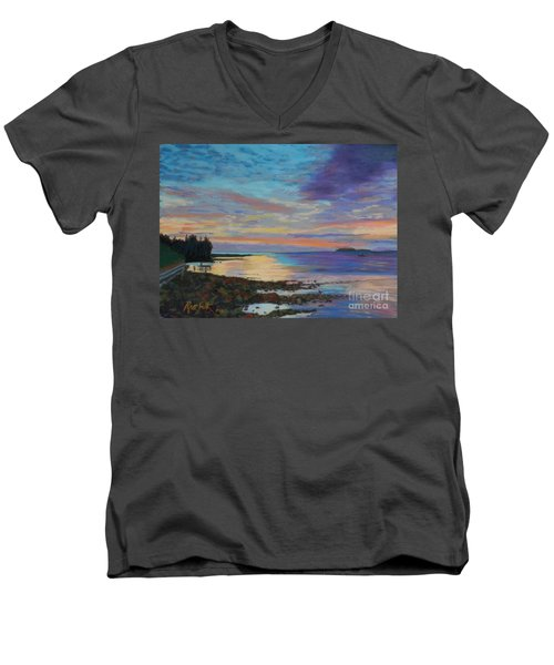 Sunrise On Tancook Island  Men's V-Neck T-Shirt by Rae  Smith PAC