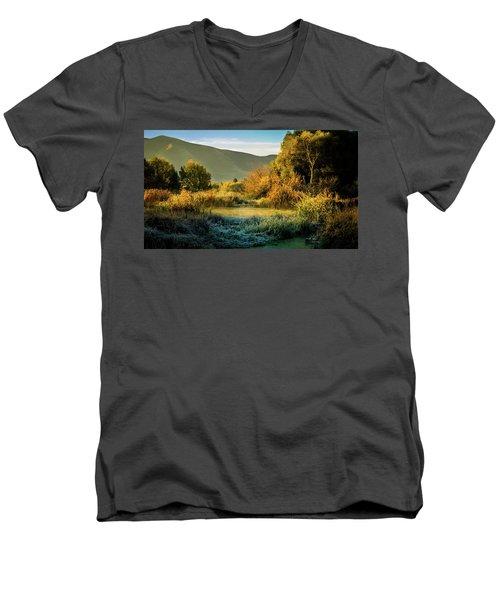 Sunrise On The Duck Marsh Men's V-Neck T-Shirt