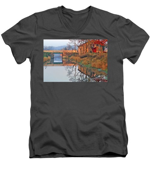 Men's V-Neck T-Shirt featuring the photograph Sunrise On The I And  M Canal by Paula Guttilla