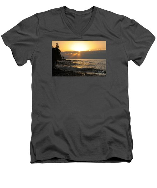 Men's V-Neck T-Shirt featuring the photograph Sunrise On The Point by Sandra Updyke