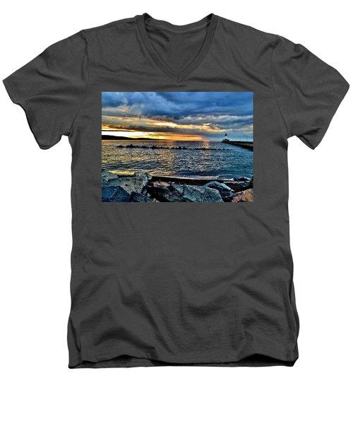Sunrise On The Rocks Men's V-Neck T-Shirt