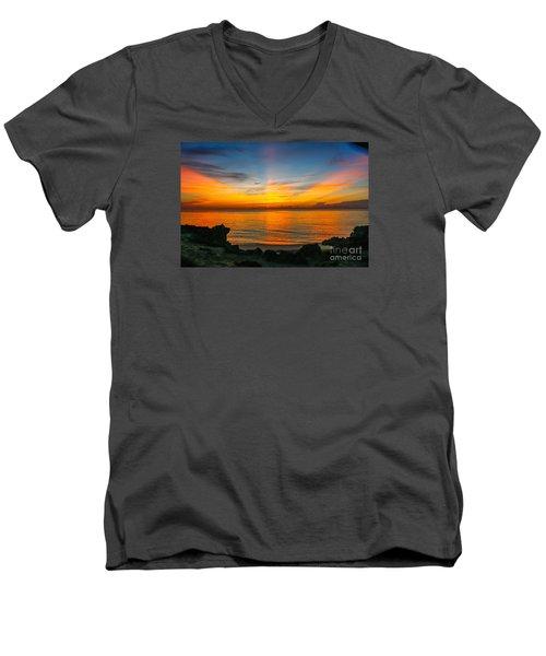Sunrise On The Rocks Men's V-Neck T-Shirt by Tom Claud