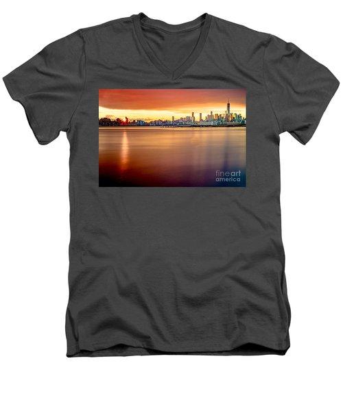 Sunrise On The Weehawken Waterfront Men's V-Neck T-Shirt