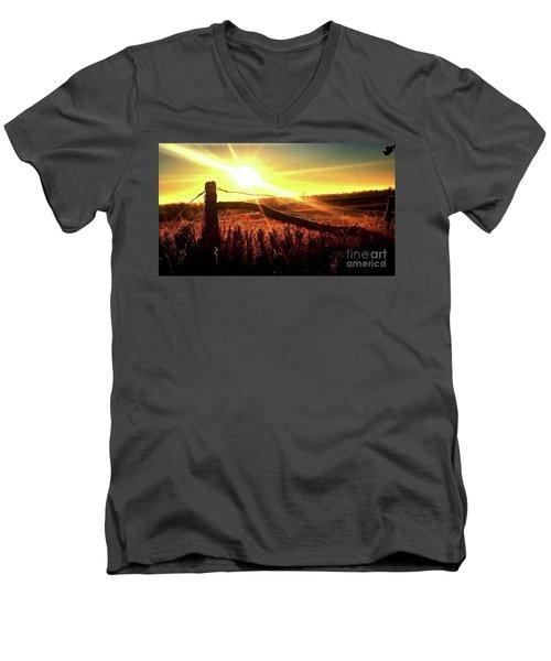 Sunrise On The Wire Men's V-Neck T-Shirt by J L Zarek