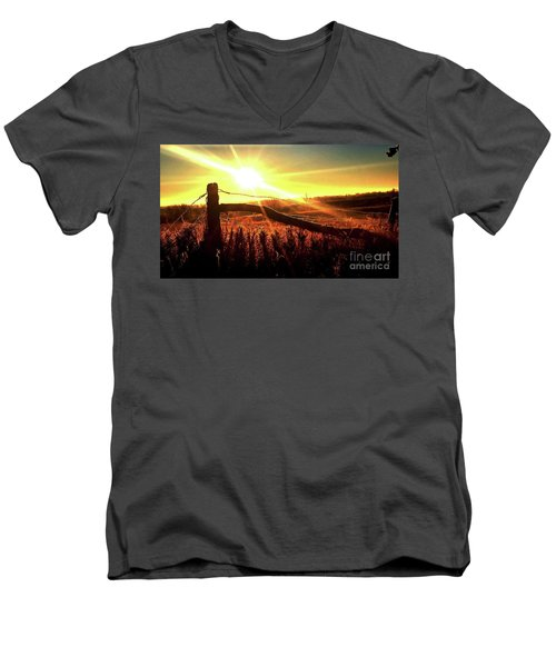 Sunrise On The Wire Men's V-Neck T-Shirt