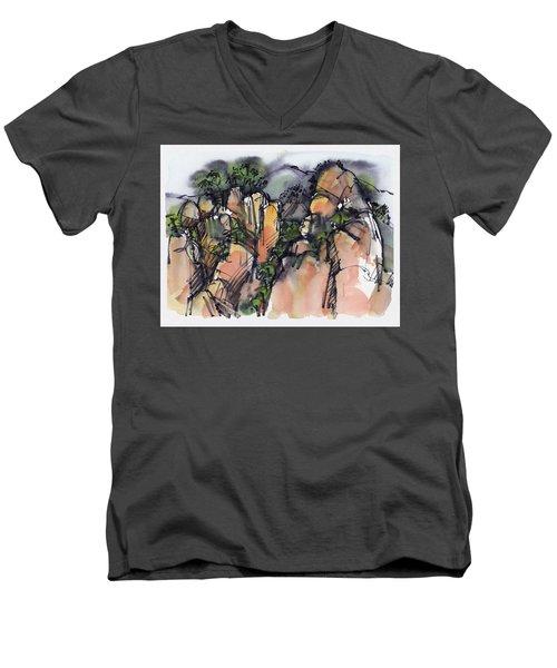 Sunrise On The Yellow Mountain, China Men's V-Neck T-Shirt