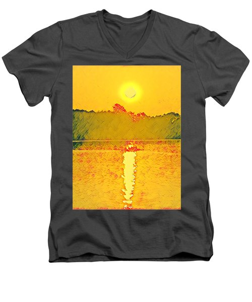 Sunrise On Town Lake Men's V-Neck T-Shirt