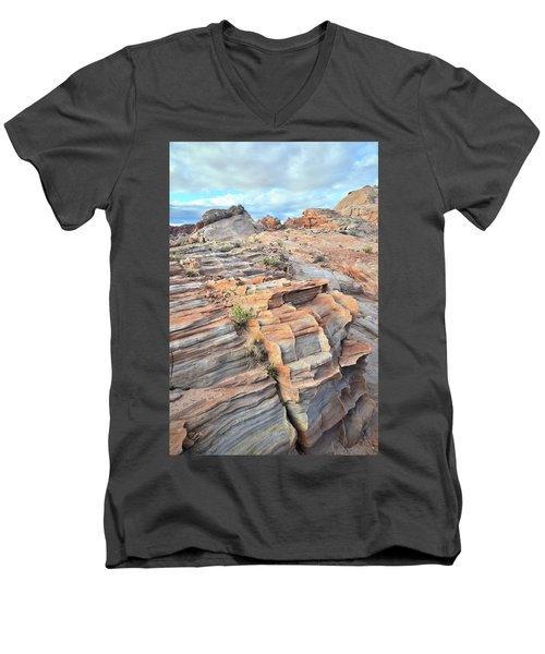 Sunrise On Valley Of Fire Men's V-Neck T-Shirt by Ray Mathis