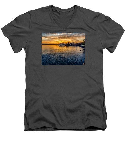 Sunrise Over Commencement Bay Tacoma, Wa Men's V-Neck T-Shirt