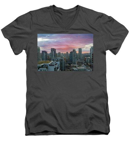 Sunrise Over Downtown Vancouver Bc Men's V-Neck T-Shirt
