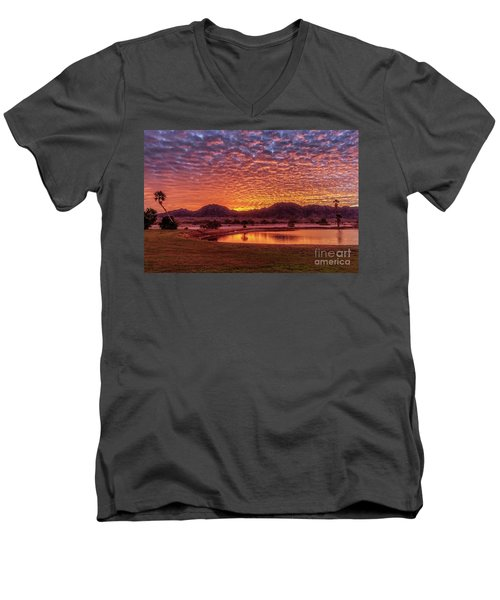 Sunrise Over Gila Mountain Range Men's V-Neck T-Shirt by Robert Bales