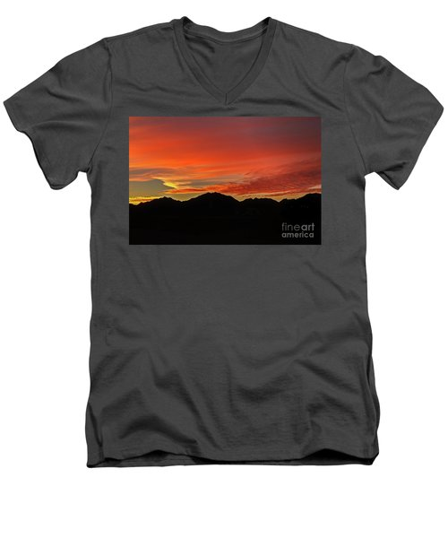 Sunrise Over Gila Mountains Men's V-Neck T-Shirt by Robert Bales