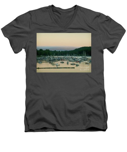 Sunrise Over Mallets Bay Variations - Three Men's V-Neck T-Shirt by Felipe Adan Lerma